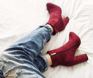 boots, outfit, and red image