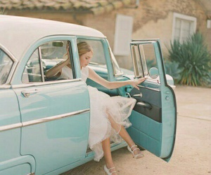 car, vintage, and wedding image