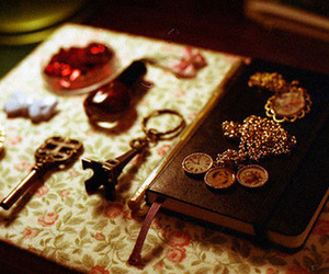 key, vintage, and book image