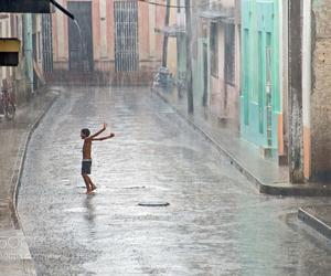 child and rain image