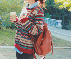 bag, outfit, and pullover image
