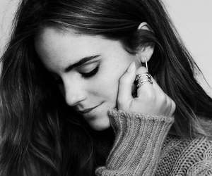 actress, black and white, and emma watson image