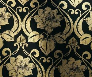 black, damask, and gold image