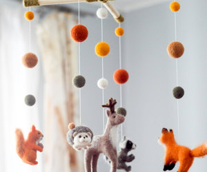 etsy, forest animals, and crib mobile image