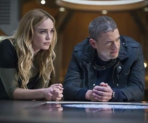 wentworth miller, sarah lance, and captain cold image
