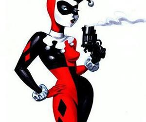 harley quinn, batman, and comic image