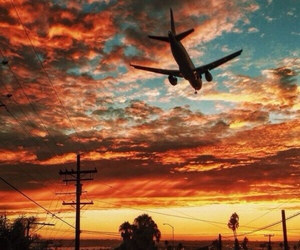 sky, sunset, and airplane image