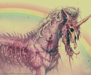unicorn, rainbow, and skeleton image