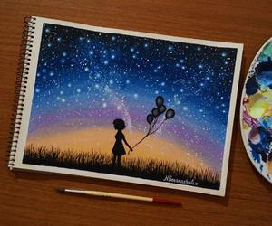 stars, art, and balloons image