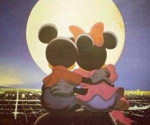 love, mickey, and moon image