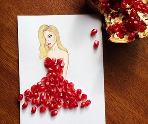 art, dress, and fruit image