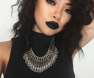 makeup, girl, and black image