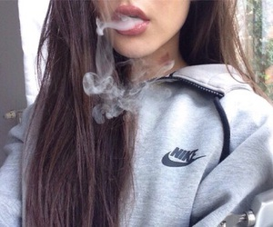 brown hair, nike, and smoke image