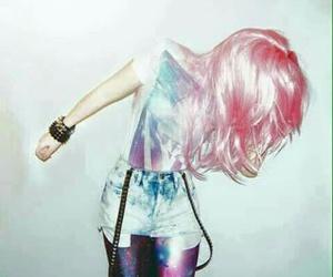 hair, pink, and galaxy image