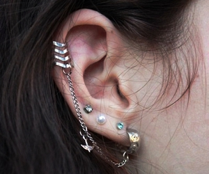 earrings, illustration, and piercing image