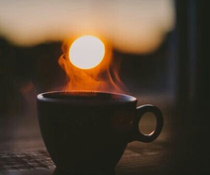 coffee, sun, and sunset image