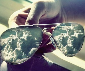 clouds, sky, and sunglasses image