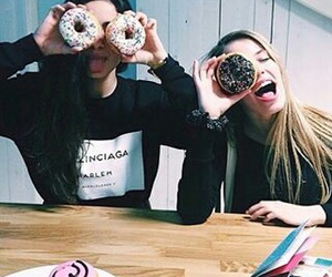 girl, donuts, and friends image