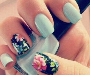 nails, flowers, and blue image