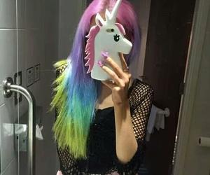 unicorn, hair, and rainbow image