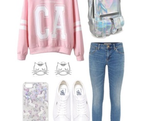 jeans, Polyvore, and white vans image