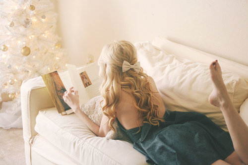 girl, hair, and book image
