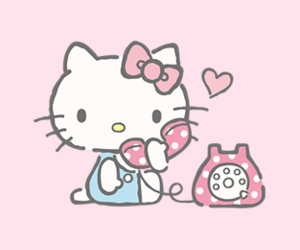 hello kitty, pink, and sanrio image