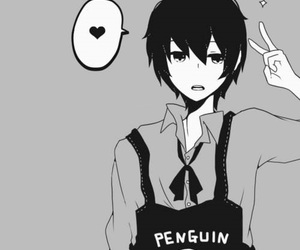 anime, boy, and penguin image