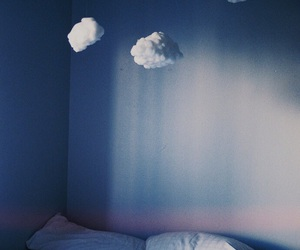 clouds, bed, and room image