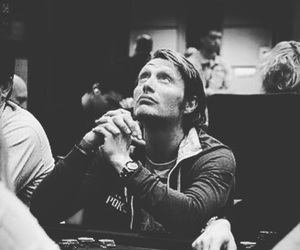 actor, black and white, and mads mikkelsen image