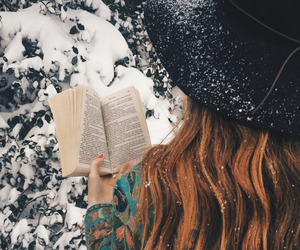 book, winter, and hair image