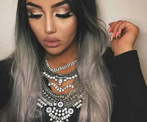 Black Eyeliner, silver ombre hair, and flawless makeup image