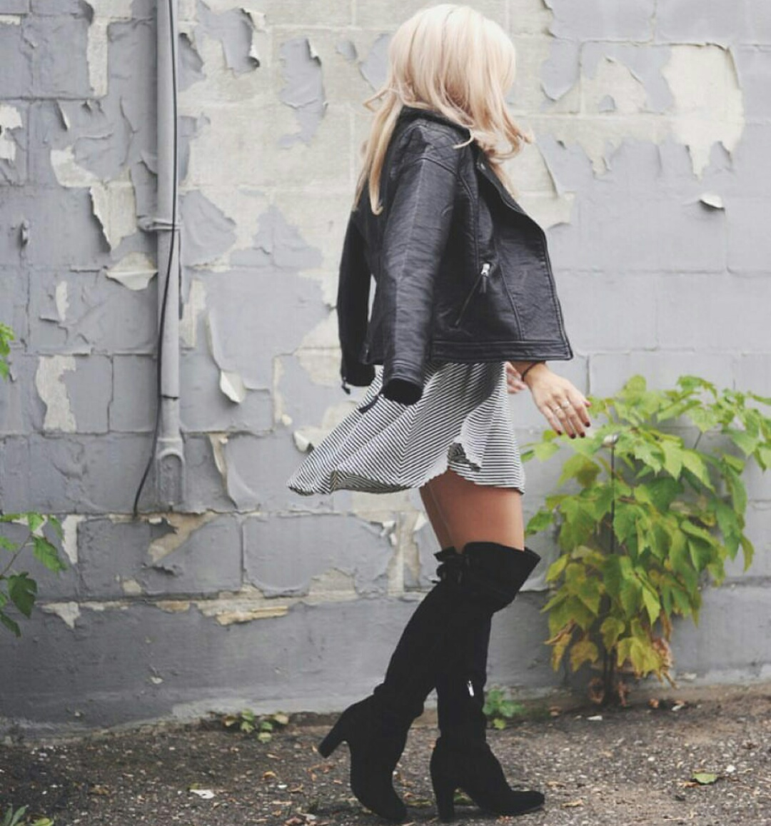 striped dress, straight blonde hair, and black leather jacket image