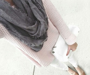 grey scarf, white skinny jeans, and white clutch image