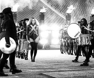 beyoncé, super bowl, and black and white image