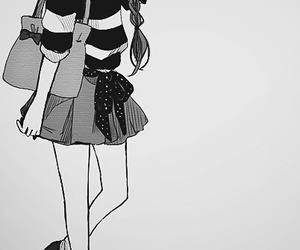 anime girl, black and withe, and fashion image