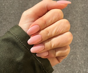 girl, gel nails, and coffin shape image