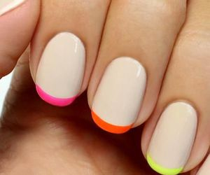 colorful nails, french manicure, and nail designs image