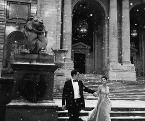couple, snow, and dress image