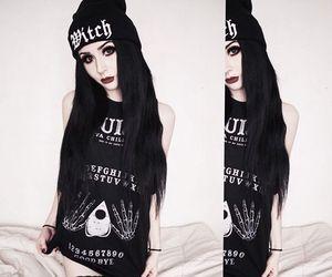 alternative, black hair, and white image