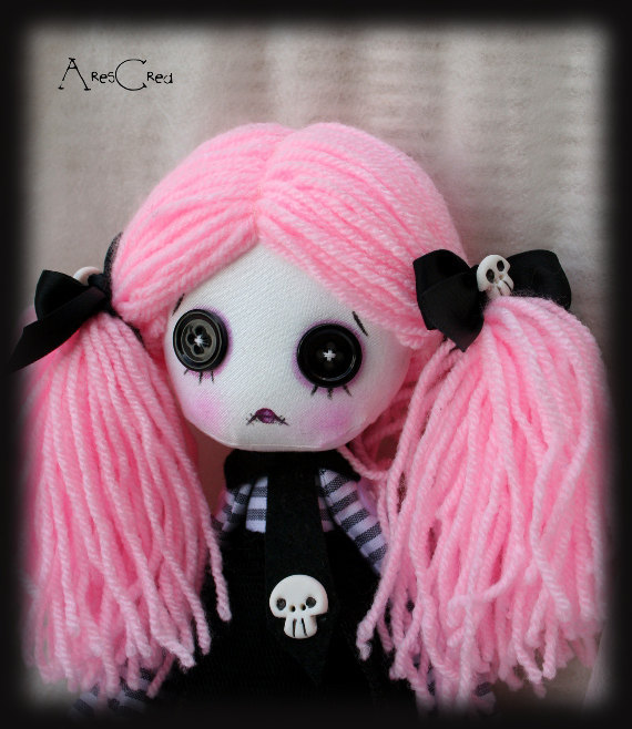 Pastel Goth Doll Candy Handmade Creepy Cute Zombie Cloth With Black On Eyes And Skulls Rag