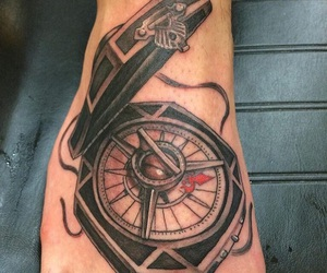 tattoo, compass, and pirates of the caribbean image