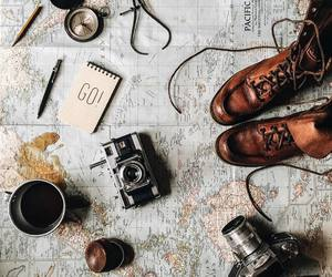 travel, map, and camera image