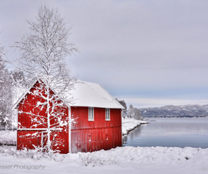 house, red, and landscape image