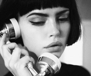 girl, black and white, and telephone image