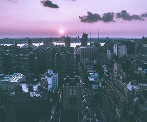 city, sun, and purple image