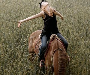 horse, freedom, and girl image