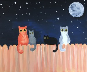 cats, moon, and art image