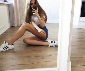 adidas, girl, and superstars image