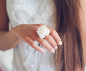 girl, ring, and flowers image